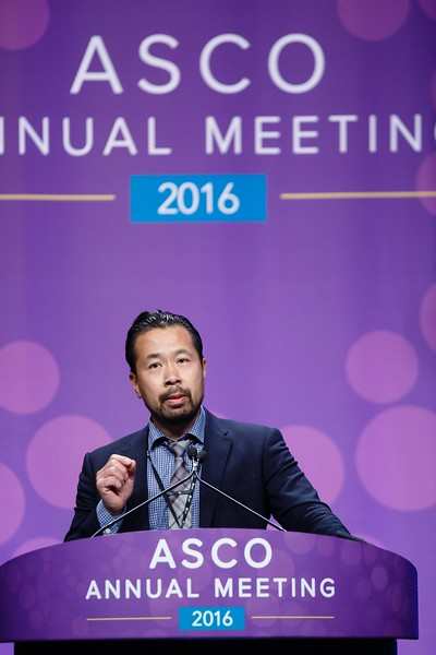 Stephen K. L. Chia, MD, speaks during Breast Cancer? HER2/ER Oral Abstract Session
