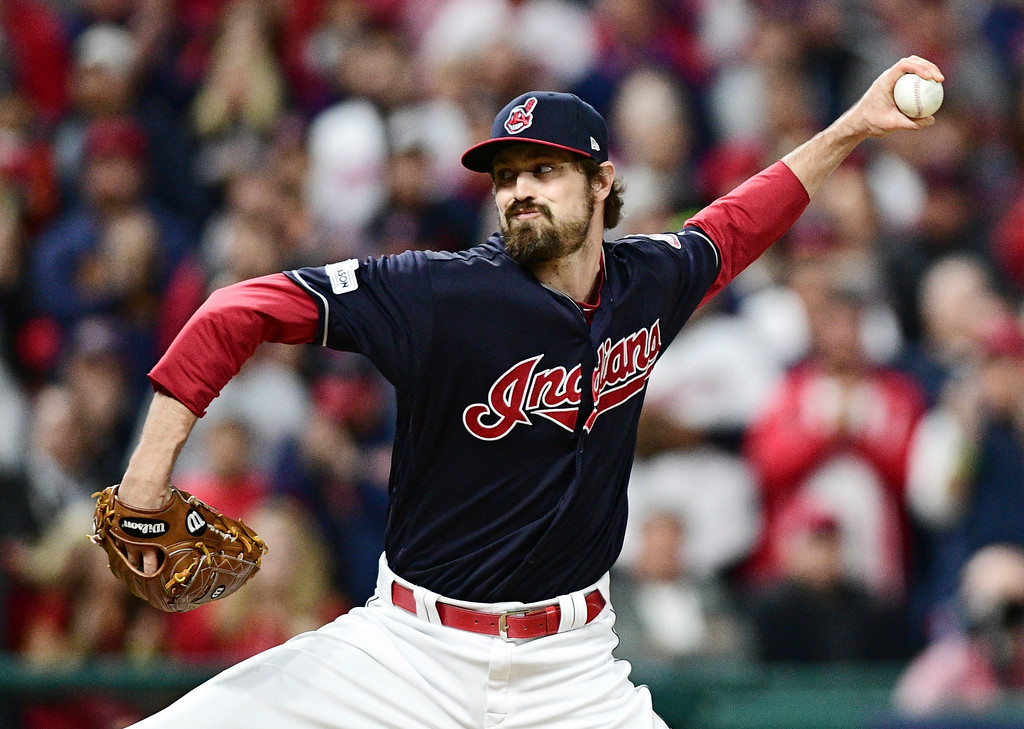 . Cleveland Indians relief pitcher Andrew Miller throws to a New York Yankees batter during the fourth inning of Game 5 of a baseball American League Division Series, Wednesday, Oct. 11, 2017, in Cleveland. (AP Photo/David Dermer)