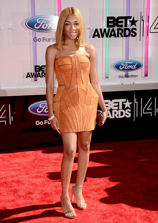 . Lil Mama arrives at the BET Awards at the Nokia Theatre on Sunday, June 29, 2014, in Los Angeles. (Photo by Dan Steinberg/Invision/AP)