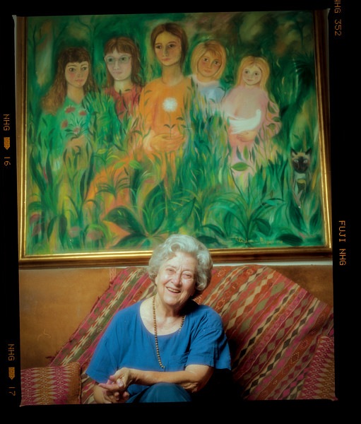 Jean with portrait of Butler daughters - her 80s