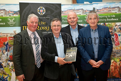 St Colman's College hosted the launch of the MacRory Cup book on Monday last,Micheal Doyle,(V/Principle),Kevin Stevenson,Paddy Turley, Seamus Woods,(Ulster Colleges Council).RS1448702