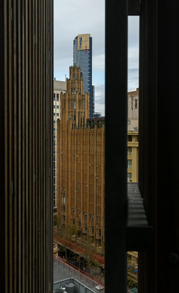 A peek out at Swanston Street