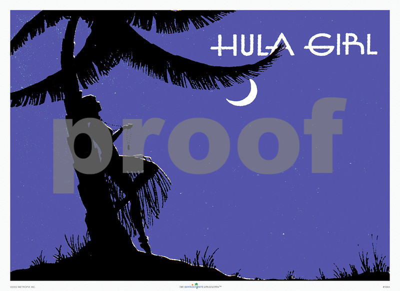 164: Hula Girl - Matchbox Cover, 1930's. This is a lovely image of a silhouetted Hula Girl leaning against a palmtree in a field of midnight blue. Please note that due to extreme amplification from a tiny image every flaw of the original (matchboxes weren't printed with highest quality technology) will be visible when viewed up close or purchased in the largest sizes. However, since this is such a great image we decided to go ahead. Indeed, this is all vintage stuff, and has to be appreciated for what it was, not to be compared to present-day state-of-the-art printing. Still, your prints are produced with archival-quality inks on heavyweight paper or canvas and are guaranteed not to fade for over 80 years, if kept behind glass and out of direct sunlight. (PROOF watermark will not appear on your print)