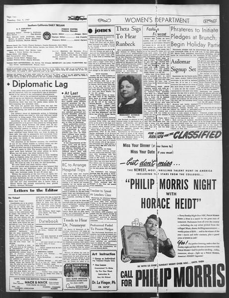 Daily Trojan, Vol. 39, No. 59, December 09, 1947
