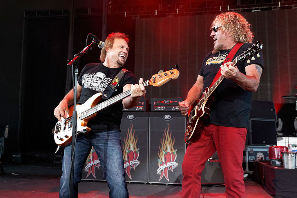 . Michael Anthony with Sammy Hagar at Freedom Hill on 7-23-14. Photo by Ken Settle