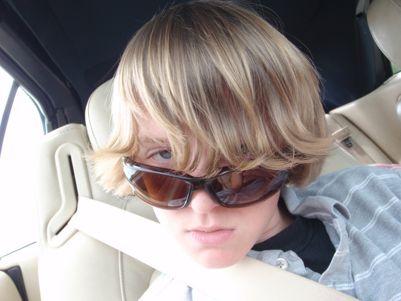 """Jacob looking thru his """"hair visor"""" and just trying so hard to be cool."""