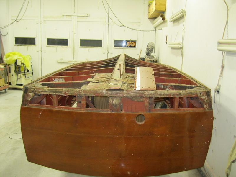 Bottom transom plank removed.