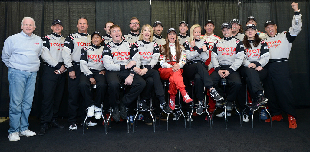 . Rosamond, Calif., -- 03-23-13-  Toyota Pro/ Celebrity Race participants pose for a group photo in between practice sessions at Willow Springs Raceway. The Toyota Pro/Celebrity Race helps raise money on behalf of Racing for Kids, a fundraising program benefiting Miller Children�s Hospital in Long Beach and Children�s Hospital of Orange County. On behalf of the race and its participants, Toyota has donated more than $2 million to various children�s hospitals since 1991.  Stephen Carr/  Los Angeles Newspaper Group