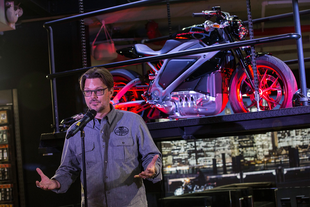 . Mark-Hans Richer, Harley Davidson\'s chief marketing officer, speaks at a press conference unveiling the Harley Davidson Livewire motorcycle, the company\'s first electric bike, at the Harley Davidson Store on June 23, 2014 in New York City. The Livewire has 74 horsepower and a top speed of 92 miles per hour.  (Photo by Andrew Burton/Getty Images)