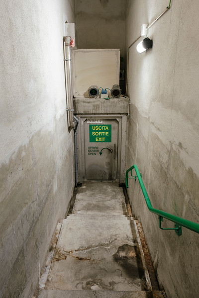 Staircase going from emergency shelter number 17 to the underground evacuation tunnel - Samuel Zeller for the New York Times