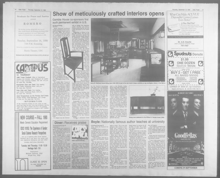 Daily Trojan, Vol. 113, No. 8, September 13, 1990