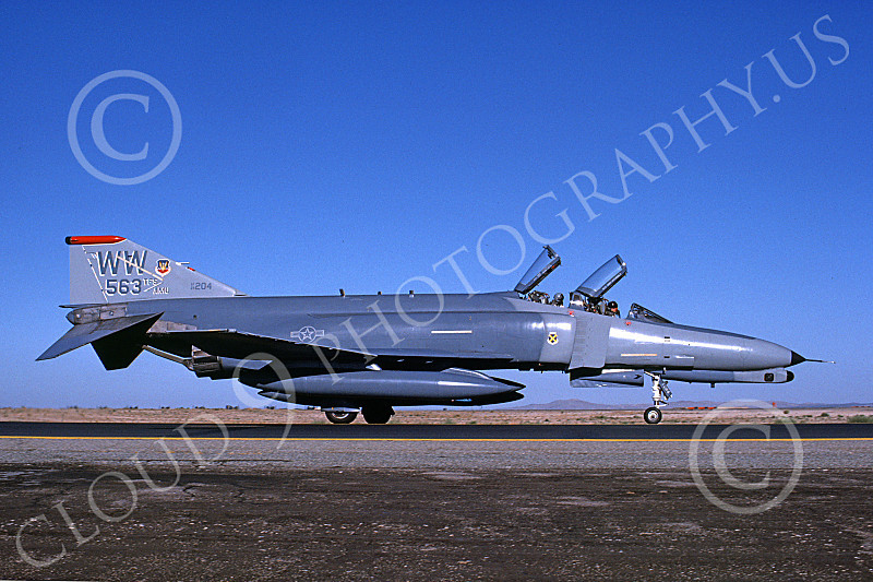 F-4USAF 00213 A taxing McDonnell Douglas F-4G Phantom II USAF 69204 Wild Weasel WW code 563th TFS George AFB 9-1989 military airplane picture by Michael Grove. Sr..JPG