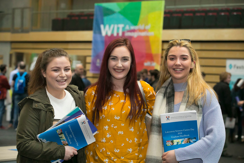 07/03/2018. Waterford Institute of Technology Labatory Sciences Careers Day at The Arena. Pictured are Niamh McDonnell, Sinead Daly and Lenka Jindrichova. Picture: Patrick Browne