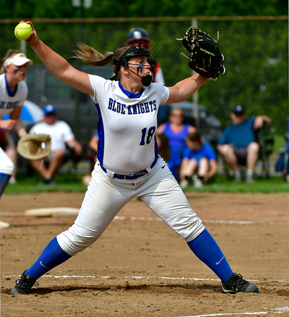 6/1/2019 Mike Orazzi | Staff Southington's Julia Panarella (18) during the Class LL Quarterfinal softball game with Ridgefield at Southington High School on Saturday.