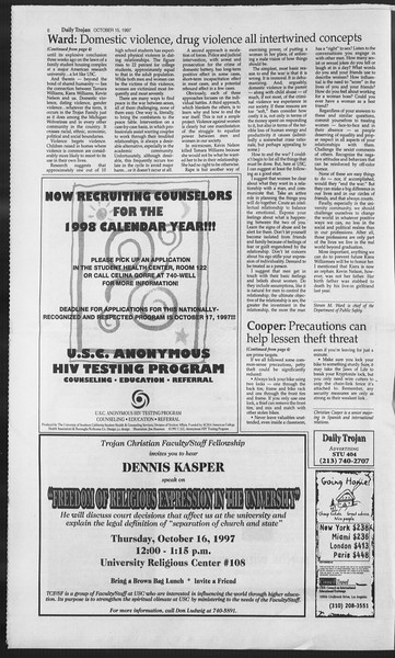 Daily Trojan, Vol. 132, No. 33, October 15, 1997