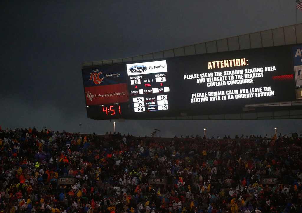 . Fans are warned to take cover as a severe storm moves through Soldier Field during the first half of an NFL football game between the Chicago Bears and Baltimore Ravens, Sunday, Nov. 17, 2013, in Chicago. (AP Photo/Charles Rex Arbogast)