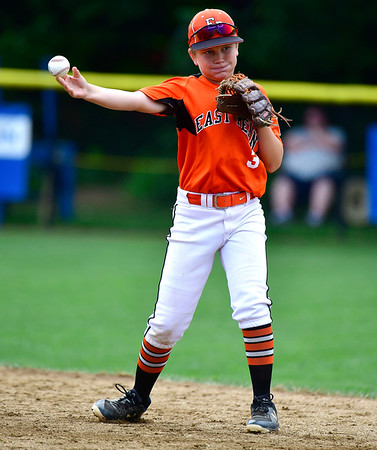 8/6/2019 Mike Orazzi | Staff Pennsylvania's Mason Smith (3) during their second game of the Little League Mid-Atlantic regional on Aug. 6, 2019 at Breen Field in Bristol, Ct.