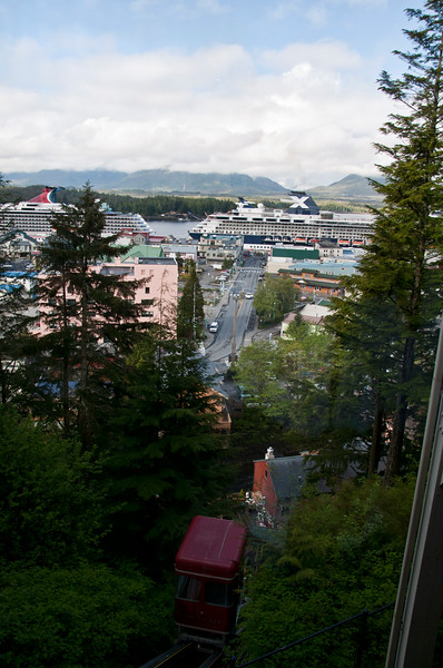 The tram going up the mountain and our cruise ship in harbor.