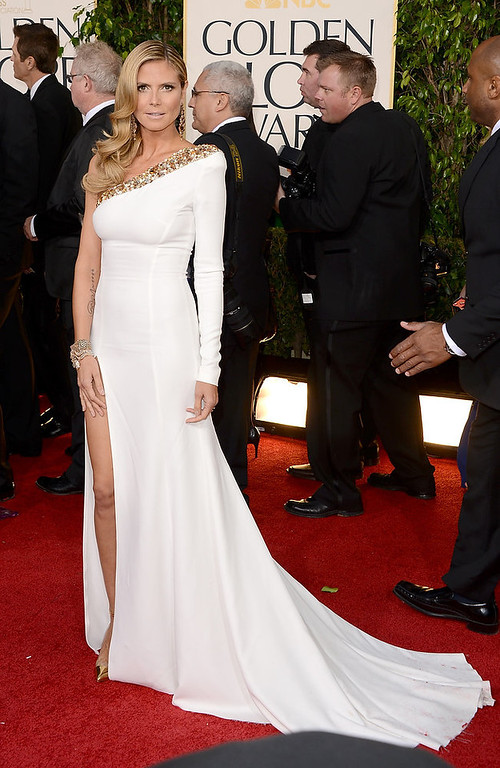 . TV personality Heidi Klum arrives at the 70th Annual Golden Globe Awards held at The Beverly Hilton Hotel on January 13, 2013 in Beverly Hills, California.  (Photo by Jason Merritt/Getty Images)