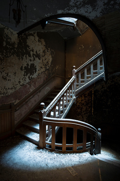Floating staircase in the Worcester State Hospital administrative Clocktower.  Sadly demolished in late 2012/early 2013.