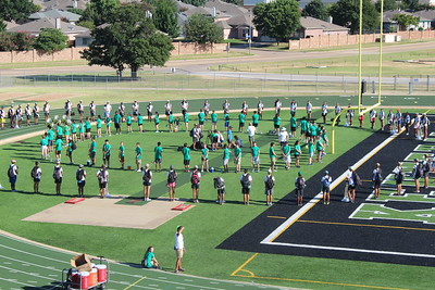 Cavalier Drum Corp clinic with Wildcat Band