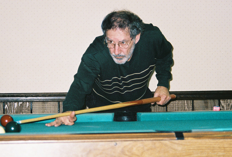 Larry Lebin, playing pool in our basement  Dec 31 1998.