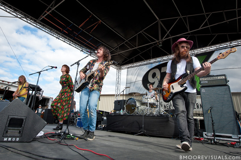 Andrew Wessen, Hannah Hooper, Christian Zucconi, Ryan Rabin, and Sean Gadd of Grouplove perform on December 3, 2011 during 97X Next Big Thing at 1-800-ASK-GARY Amphitheatre in Tampa, Florida