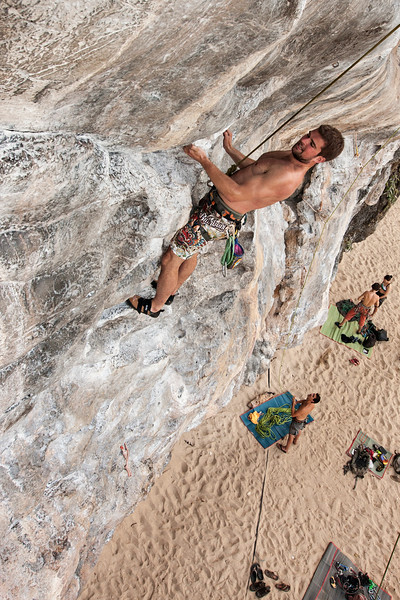 Paul pulling harder on a 7a on the beach.