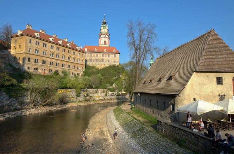 The Castle Tower hovering above buildings in Cesky Krumlov, Czech Republic