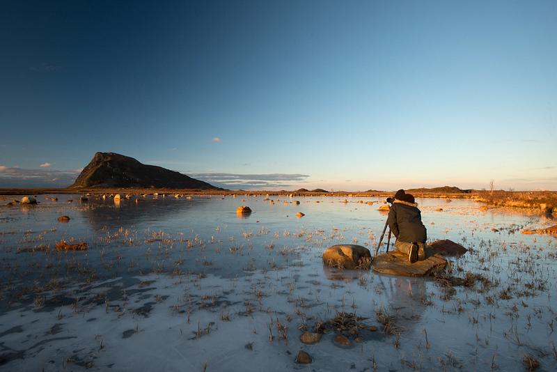 Spiegelung im Eis fotografieren im Abendlicht