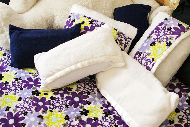 Pillowcases made from baby blankets with coordinating cover for sleeping bag