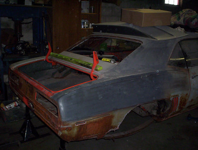 1969 camaro hugger orange super sport under construction