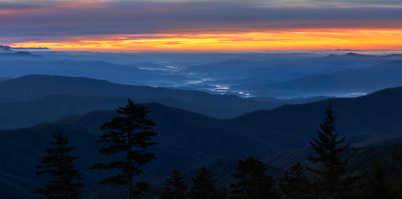 Clingmans Dome during blue sunrise