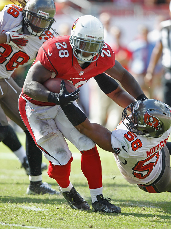 . TAMPA, FL - SEPTEMBER 29:  Dekoda Watson #56 of the Tampa Bay Buccaneers tackes Rashard Mendenhall #28 of the Arizona Cardinals during the 4th quarter at Raymond James Stadium on September 29, 2013 in Tampa, Florida. ( Photo by Scott Iskowitz/Getty Images)