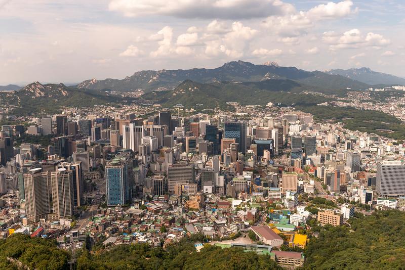 Aerial view of city seen from Namsan Park, Namsan Mountain, Seoul, South Korea