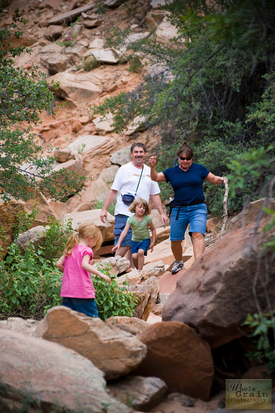 The hikers return from exploring a slot canyon in Zion National Park.