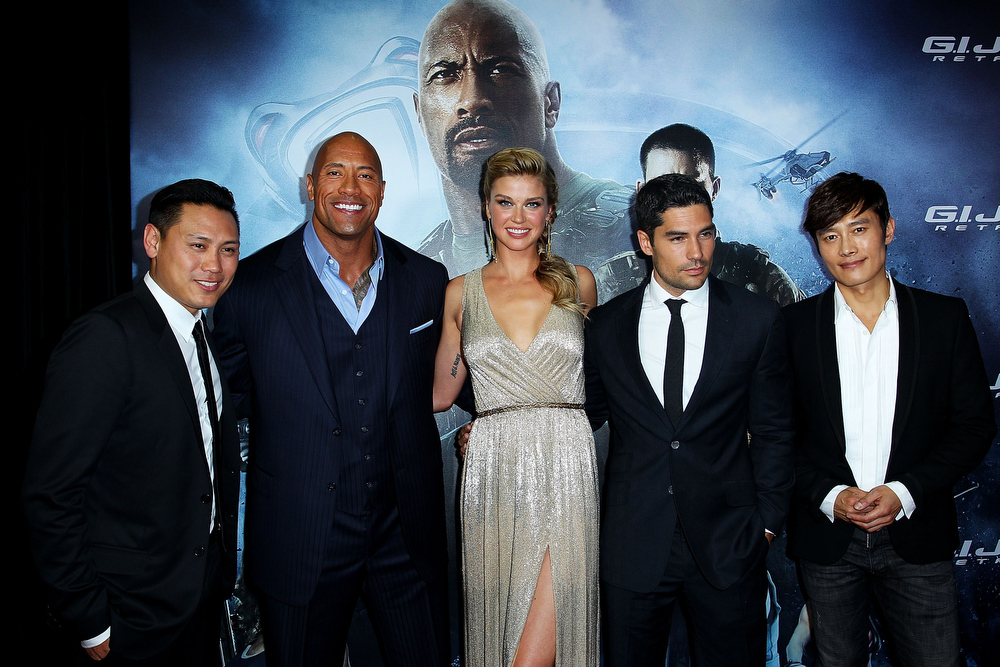 ". Jon M. Chu, Dwayne \'The Rock\' Johnson, Adrianne Palicki, DJ Cotrona and Lee Byung-Hun arrive at the ""G.I.Joe: Retaliation\"" - Australian Premiere at Event Cinemas George Street on March 14, 2013 in Sydney, Australia.  (Photo by Lisa Maree Williams/Getty Images)"