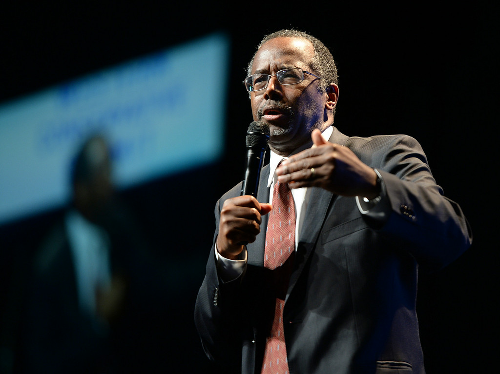 . DENVER, CO - JULY 18: Dr. Ben Carson gave his prescription for America at the Western Conservative Summit Friday night, July 18, 2014 in Denver. The weekend gathering of conservative voters also heard remarks from Louisiana Gov. Bobby Jindal, and Utah Senator Mike Lee Friday night. Photo by Karl Gehring/The Denver Post