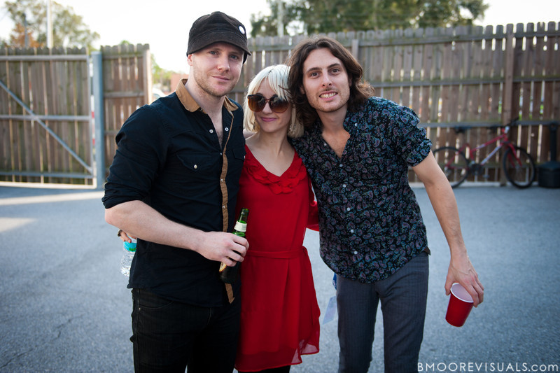 Rhydian Dafydd, Ritzy Bryan, and Matt Thomas of The Joy Formidable pose backstage on December 3, 2011 during 97X Next Big Thing at 1-800-ASK-GARY Amphitheatre in Tampa, Florida