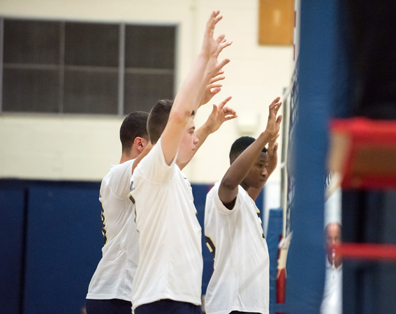 05/22/18 Wesley Bunnell | Staff Newington volleyball in action in the CCC Quarterfinal Tuesday afternoon. Leonel Caceres (13), Daniel Cloutier (7) and Razik Amadou (15).
