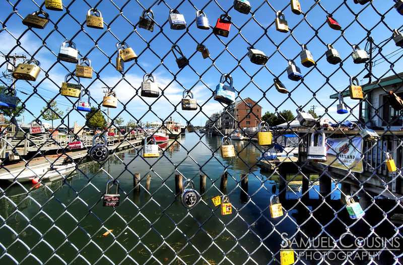 Looking down the wharf through the Fences of Love.