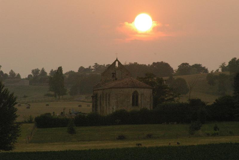 The old Roman church at Ste Colombe - sunset view from the backyard