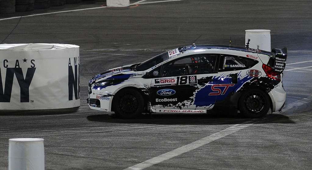 . Patrik Sandell races during the X Games Gymkhana Grid finals at Irwindale Speedway on Saturday, Aug. 3, 2013 in Irwindale, Calif.   (Keith Birmingham/Pasadena Star-News)