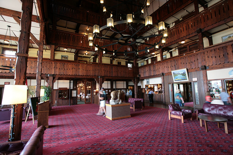 "Glacier National Park - Waterton.  Waterton is in Canada.  It is an adjoining park that is a partner with Glacier National Park.  This is the lobby of the ""Prince of Wales"" Inn."