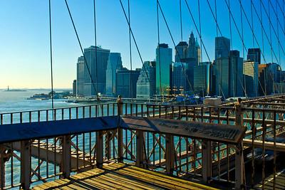 Brooklyn & Manhattan Skylines : Brooklyn Bridge - Day
