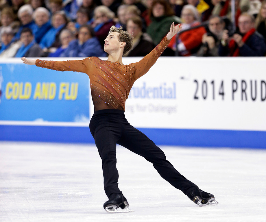 . Adam Rippon competes during the men\'s free skate at the U.S. Figure Skating Championships Sunday, Jan. 12, 2014 in Boston. (AP Photo/Steven Senne)