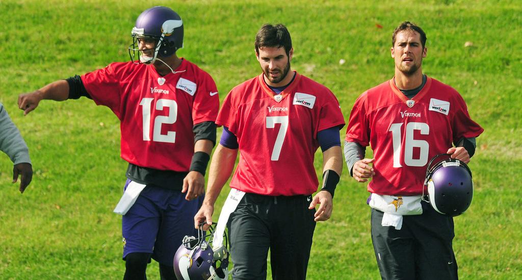 . Vikings quarterbacks (from left) Josh Freeman, Christian Ponder and Matt Cassel during  practice on Thursday.  (Pioneer Press: Scott Takushi)
