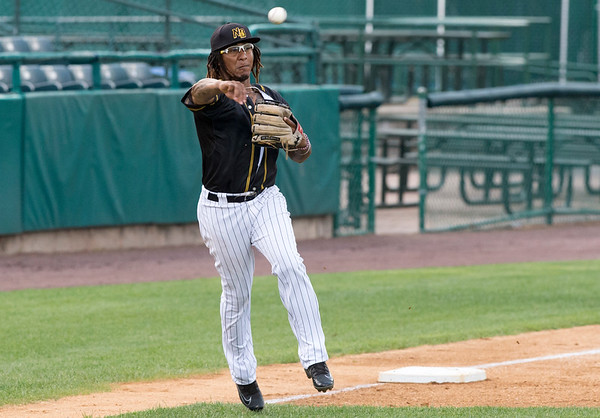 08/13/19 Wesley Bunnell | Staff the New Britain Bees vs the High Point Rockers at New Britain Stadium on Tuesday August 13, 2019. Third baseman Ozzie Martinez (1).