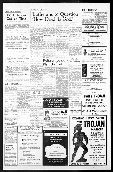 Daily Trojan, Vol. 57, No. 112, April 29, 1966