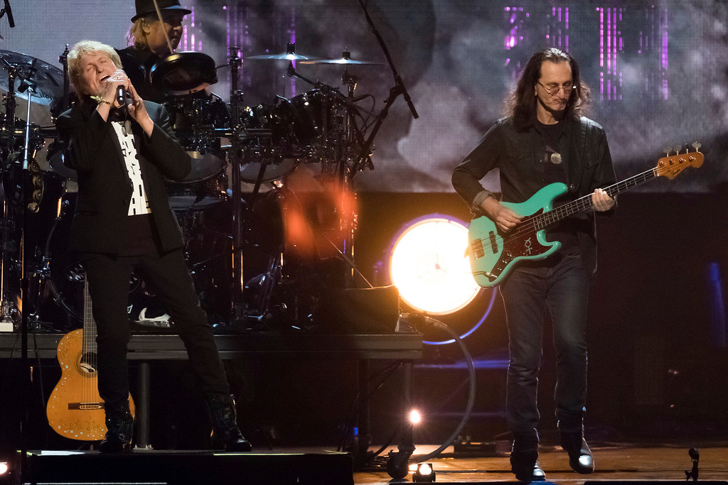 . Inductee Jon Anderson from the band Yes, left, and Geddy Lee from the band Rush perform at the 2017 Rock and Roll Hall of Fame induction ceremony at the Barclays Center on Friday, April 7, 2017, in New York. (Photo by Charles Sykes/Invision/AP)